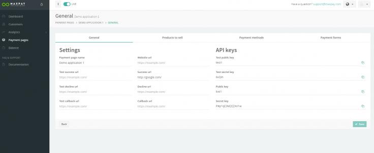 Maxpay Merchant Portal: payments