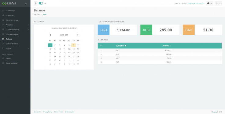 Maxpay Merchant portal: the Balance feature