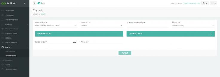 Maxpay Merchant portal: the payout section