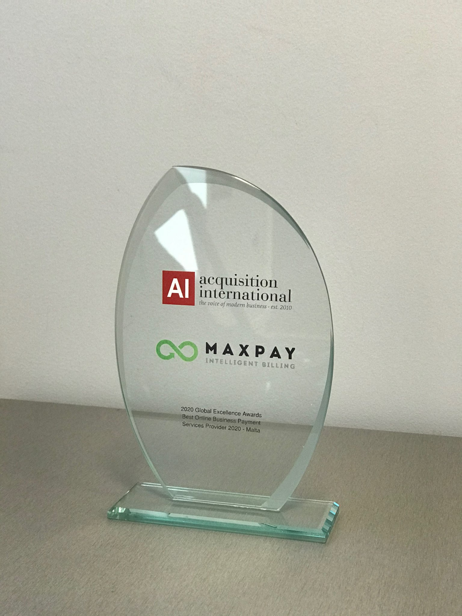 """Maxpay's """"Best Online Business Payment Service Provider in Malta of 2020"""" award"""